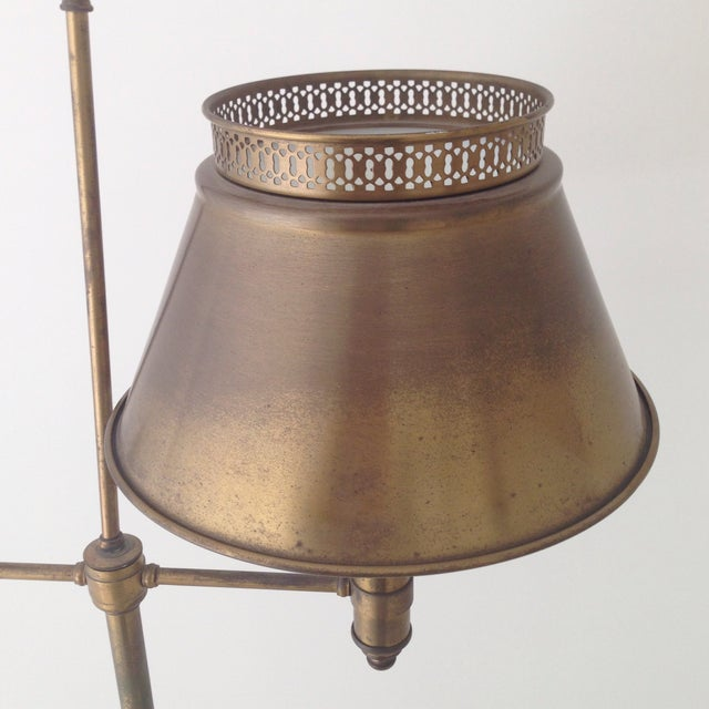 Aged Brass Tole Floor Lamp - Image 7 of 11