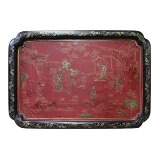 Chinese Black Red Lacquer Golden Scenery Rectangular Tray Display Art