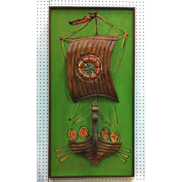 Image of Witco Style Vintage Sculptural Relief Viking Ship