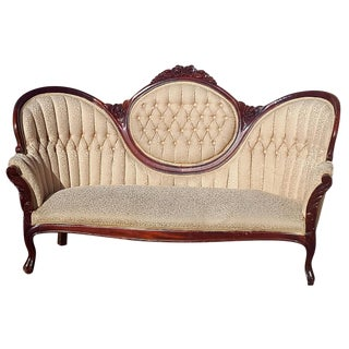 Victorian Cream Brocade Sofa