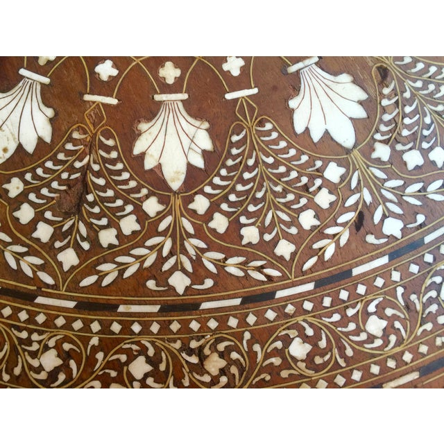 Eclectic Vintage Bone Inlay Elephant Accent Table - Image 4 of 6