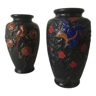 Vintage 1940's Japan Black Chalkware Floral Bird Vases - Pair