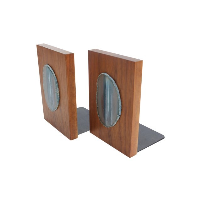 Agate Slice and Wood Bookends - Image 1 of 8