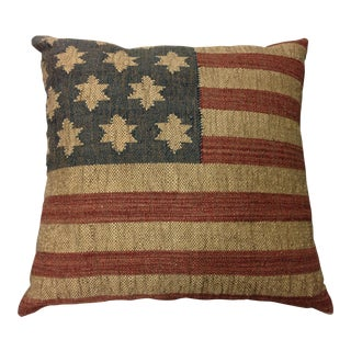 USA Flag Woven Jute & Wool Pillow