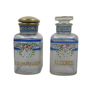 Victorian Hand-Enameled Vanity Bottles-A Pair