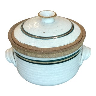 Vintage Stoneware Artisan Studio Pottery Lidded Bundt Pan Baking Mold