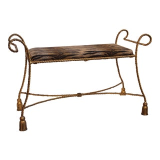 "Hollywood Regency Gilt Metal ""Tassel"" Bench"