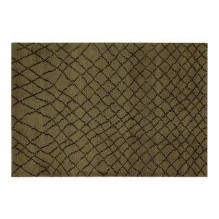 Moroccan Arya Ashlin Green & Dark Brown Wool Rug - 4'11 X 7'10