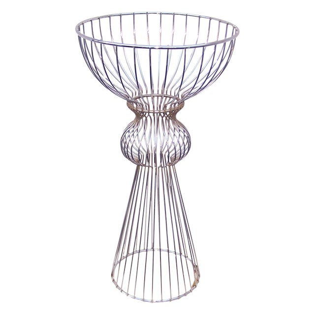Vintage 1960s Steel Wire Sculptural Plant Stand - Image 1 of 9