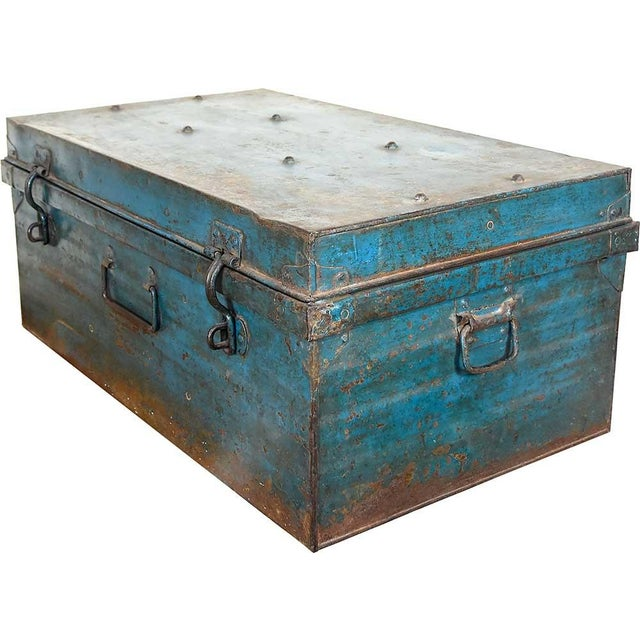 1950s Teal Iron Traveler's Trunk - Image 1 of 5