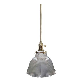 Antique Frosted Glass Holophane Pendant Light