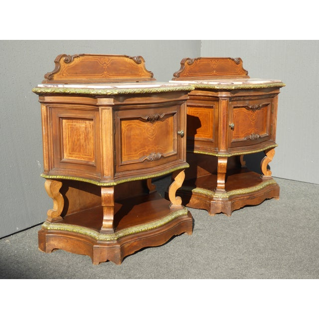 Antique White Marble Top Nightstands - A Pair - Image 3 of 11