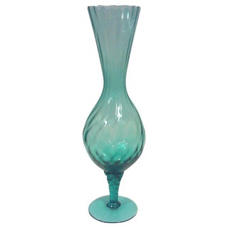 Blue Blown Glass Footed Vase