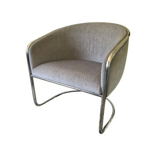 Vintage Thonet Chrome Barrel Chairs - Pair