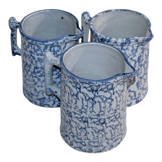 Group of Three 19th Century Spongeware Pitchers