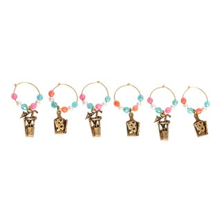 Vintage Summer Cocktail or Wine Charms- Set of 6