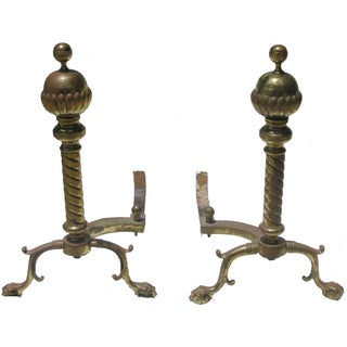 French Andirons with Ball & Claw Feet - A Pair