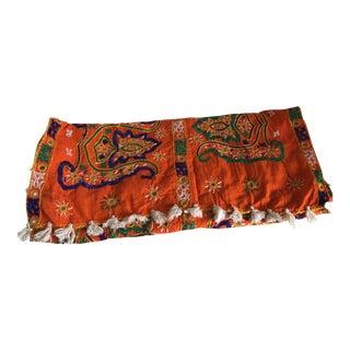 Boho Embroidered Tasseled Table Runner
