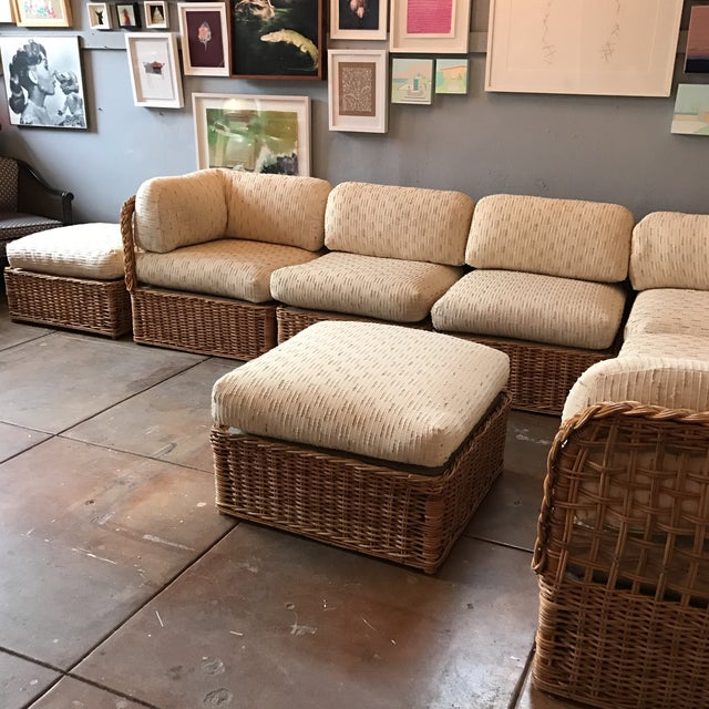 Vintage Rattan Sectional Sofa Set - Image 7 of 11