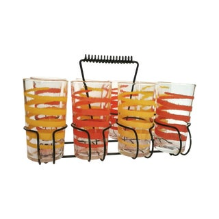Mid-Century Orange & Yellow Glasses - Set of 8