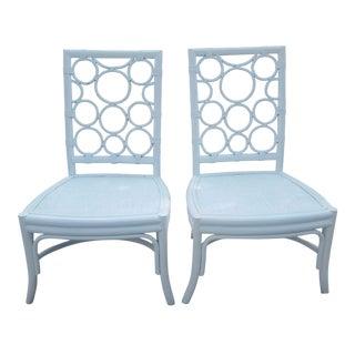 Circular Bamboo Chairs - A Pair
