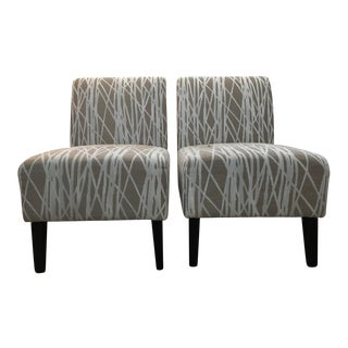 Contemporary Gray & White Side Chairs - A Pair