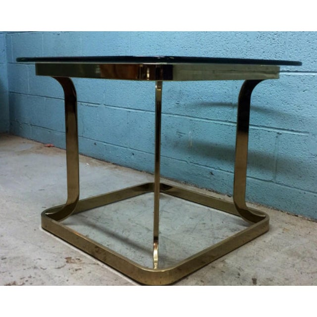 Image of Milo Baughman Style Brass Side Table
