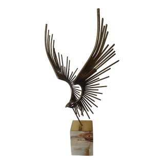Abstract Eagle Sculpture on Onyx Base by C. Jere
