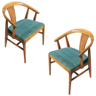 James Mont Style Horseshoe Woven Wicker Back Chairs - Pair