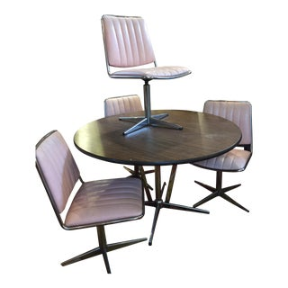 Pink Chromecraft Set Chairs & Faux Wood Table