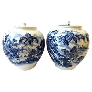 LG Blue & White Landscape Ginger Jars, Pair