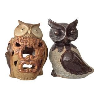 Mid-Century Ceramic Owl Diffusers - A Pair
