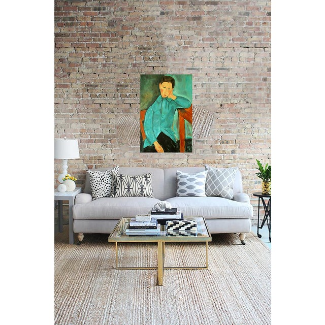"""""""Boy in Green"""" Oil Painting After Modigliani by Trixie Pitts - Image 3 of 5"""