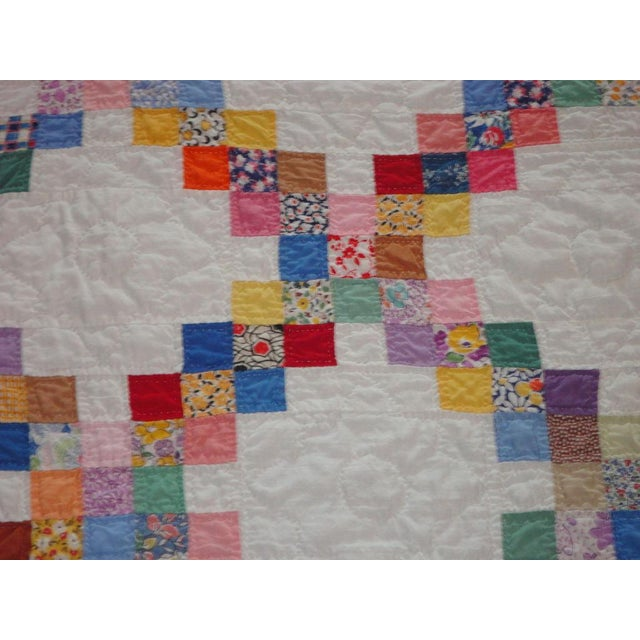 Signed and Dated 1941 Postage Stamp Double Irish Chain Quilt - Image 4 of 6