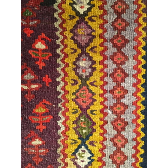 "Vintage Red & Purple Senneh Kilim - 3'4"" X 4'5"" - Image 9 of 9"