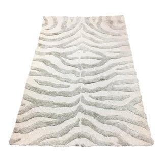 Gray Zebra Print Area Rug - 3' X 5'