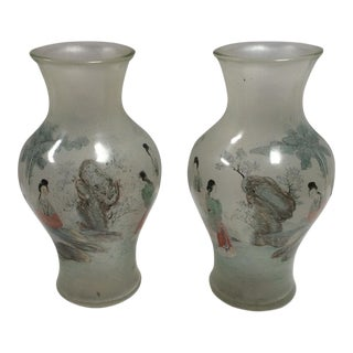 Reverse Painted Peking Glass Vases - A Pair