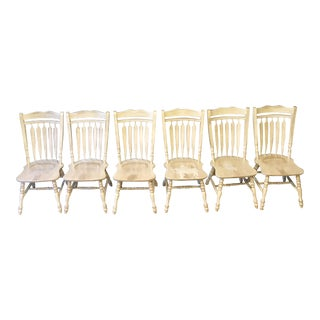 Distressed Wooden Dining Chairs - Set of 6