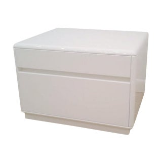 Nightstand in White Lacquer with Two Drawers