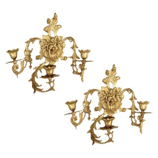 French Bronze Three-Light Sconces - A Pair