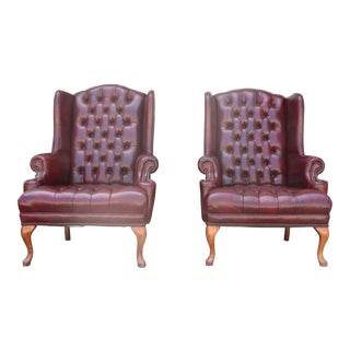 Emerson Leather Wing Back Chairs - A Pair