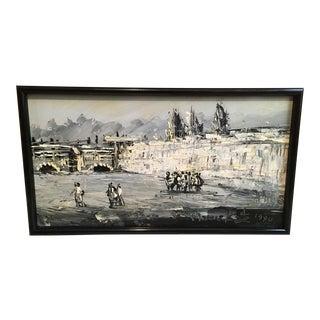 "Morris Katz ""Wailing Wall Israel"" Acrylic on Masonite Painting"