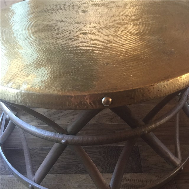 Mid-Century Hammered Brass Coffee Table - Image 4 of 8