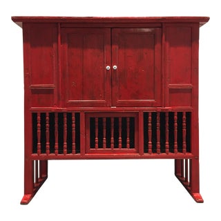 Rustic Red Chinese Console