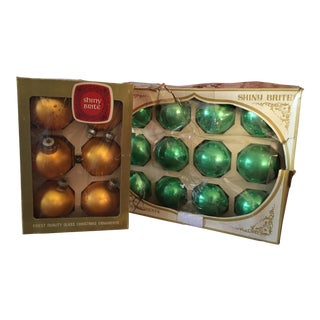 Shiny Brite Green & Gold Glass Ornaments - S/18