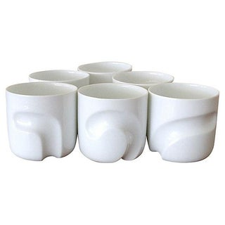Modernist Porcelain Rocks Glasses - Set of 6