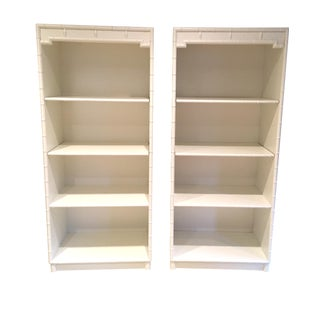 Drexel Lacquered Faux Bamboo Bookshelves - A Pair