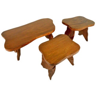 Vintage American Carved Tables - Set of 3