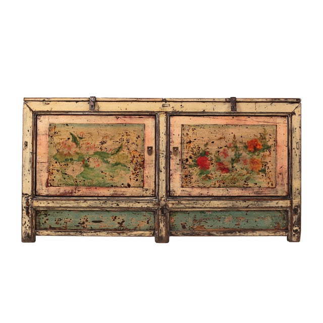 Chinese Gansu Pastel Yellow & Pink Console Cabinet - Image 1 of 5