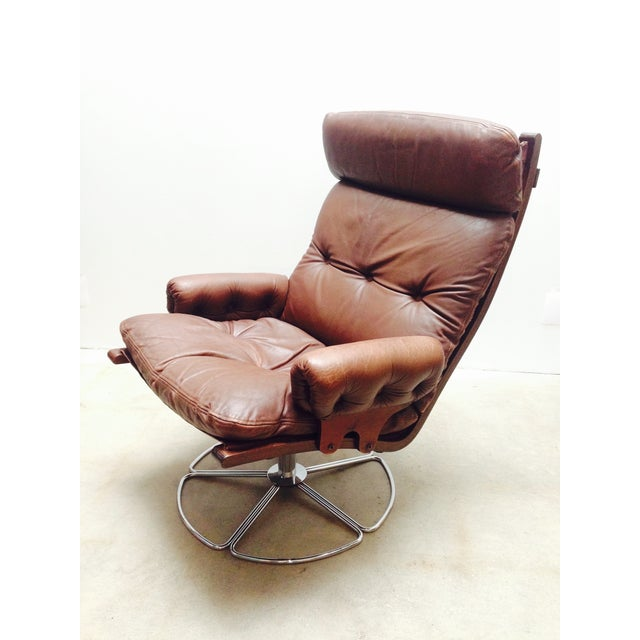 Bruno Mathsson For Dux Swivel Base Lounge Chair Chairish